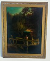 Antique 19th century Oil Painting  Fishing On A Bridge Gilt Frame .
