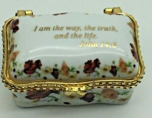 EUC IMPERIAL Porcelain Ring, Trinket Pill Box. Hinged with Flowers & Bible Verse