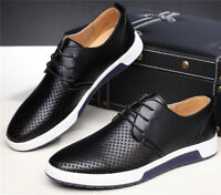 British Men Casual PU Leather Shoes Lace-up Sneakers Oxford Breathable New