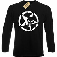 Mens Skull Pentagram T-Shirt distressed biker tee top gift long sleeve
