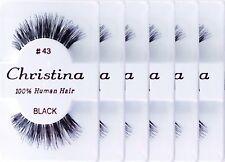 (6Pack) Christina 100% Human Hair False Eyelashes # 43 Compare Red Cherry