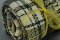 Faribo Wool Throw Blanket Dress Gordon Plaid Tartan Black Olive Yellow Fringed V