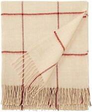 Alicia Adams 100% Baby Alpaca Throw Blanket Ivory Red Check – Ret. $450 - New
