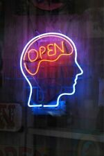 "New Open Mind Man Cave artwork Real glass Neon Sign 32""x24"" Beer Lamp Light"