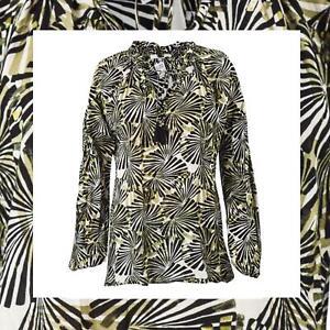 Next Tasseled Tie Front Blouse Olive Green Black Cream Print Size 16 18 20