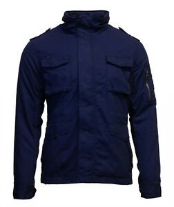 Superdry Mens New Classic Rookie Jacket Winter Coat Casual Fleece Lined Navy