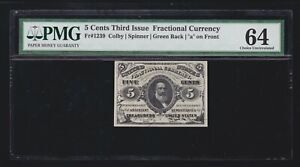 US 5c Fractional Currency Letter 'a' Green Back FR 1239 PMG 64 Ch CU