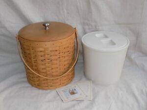 Ice Bucket Basket w/ Plastic Insulated insert w/ lid & Wood Lid 2003 Longaberger