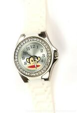 PAUL FRANK 028 LARGE MONKEY LOGO WRIST WATCH WHITE BAND & RHINESTONES WORKS!