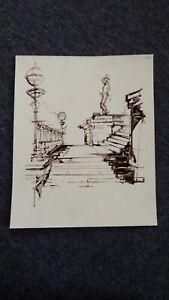 Original dark brown ink line drawing of the steps UCL main building London
