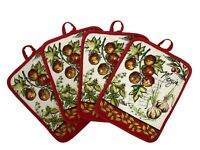 Set of Four Pot Holders for Kitchen 7 inch x 8.5 inch - Tomato-Garlic-Herbs