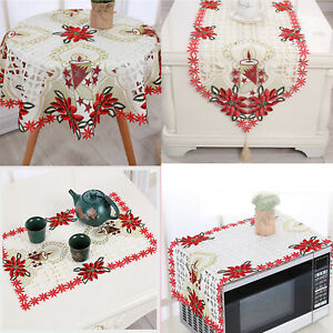 Christmas Tablecloth Vintage Embroidered Floral Lace Dining Table Cloth Runner