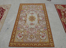 3' X 5' Antique Floral Needlepoint Hand-woven Rug Light Brown Ivory Swirl French