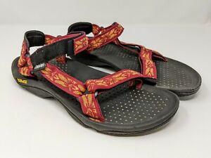 Teva Men's Sandals Red and Orange Floral Print Hook and Loop Fastener Sz 11