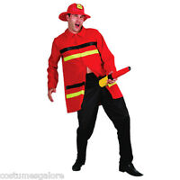 SW Mens Costume Fancy Dress Halloween Funny Fire Man Firefighter with Hose M L
