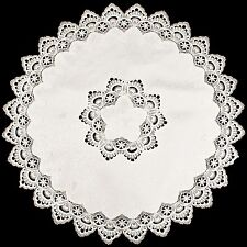 "European White Lace on Antique Fabric 36"" Round Table Topper or Tablecloth"
