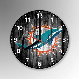 Miami Dolphins American Football Glass Wall Clock