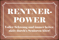 Rentner - Power Blechschild Schild gewölbt Metal Tin Sign 20 x 30 cm SM0117-X