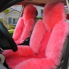 Premium Quality Pink 4Pcs Australian Sheep Skin Car Long Wool Seat Covers Set