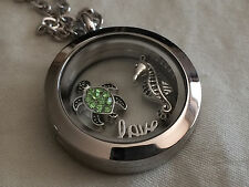 Stainless Steel Floating Charm Locket Living Memory Pendant Necklace w/ GIFT BOX