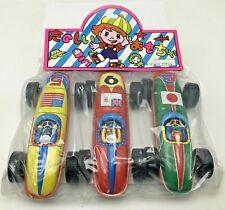 Vintage Tin Sheet Metal Litho Race Car Set USA Japan