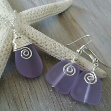 "Handmade in Hawaii ""Magic Color Changing"" Wire wrapped purple jewelry set"