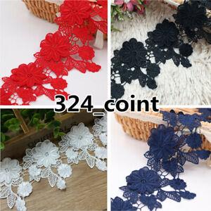 BF72 1 Yard Lace Trim Ribbon Wedding Dress Embroidered Sewing Applique Craft DIY
