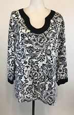 JM Collection Size 18 NWT Linen Tunic Black White Floral Print 3/4 Sleeve