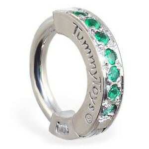 Sterling Silver Navel Ring Pave Set with 7 Emerald Green CZs TT-69112 TummyToys