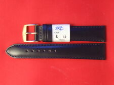12,18mm Navy Calf Leather Anti Allergy Watch Strap