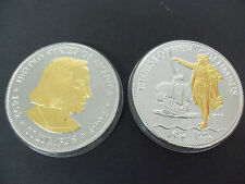 COLUMBUS 500 ANNIVERSARY 1 KG SILVER  COMMEMORATIVE 2 COINS ROUNDS PROOFS 32 OZ