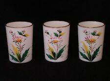 Opal Milk Glass Tumblers with Enamal Floral Decorations and Gilding