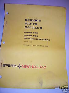 VINTAGE   NEW HOLLAND PARTS MANUAL 346 - 365 MANURE SPREADER