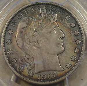 1908-O Barber Half Dollar 50c PCGS Certified XF45 Crusty Original Coin