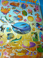 "10 Large Sheets Nemo Fish & Friends  Laser Stickers 8"" X 10"" NEW"