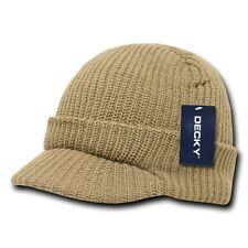 Khaki Visor Beanie Jeep GI Military Ski Skull Watch Cap Caps Hat Hats Beanies