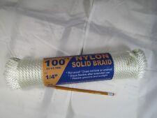 """1/4"""" (#8) Nylon Solid Braid Cord 4 x 100' Hanks"""