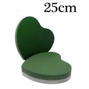 """25cm Funeral Flower Foam Love Heart 10"""" Wet Foam Backed Love Shape Premier Oasis"""