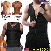 Mens Slimming Vest HOT Shirt Sweat Sauna Suit Waist Trainer Body Shaper Tank Top