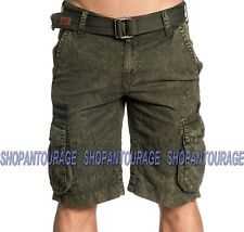 Affliction Hayden 110WS156 New Fashion Olive Cargo Shorts For Men  Belt Included