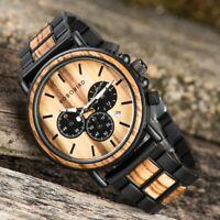 Bobo Bird montre-bracelet à cadran Unique en bois bambou avec Date dans la boîte