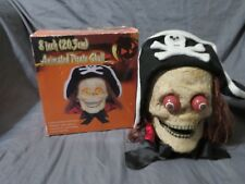 """New in Box 8"""" Halloween Animated Lighted Pirate Skeleton Skull Indoor Prop Decor"""