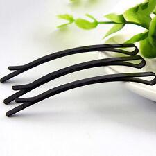 10 pcs Black Metal Flat Top Curved Long Bobby Hair Pin Clips Barrette 65mm Hot