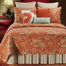 ADELE RUSTIC RED JACOBEAN Full Queen QUILT SET : FRENCH TOILE GOLD GREEN FLORAL