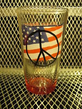 PEACE US FLAG July 4th 2007 ~ FLYING SAUCER Draught Emporium ~ Beer Glass H