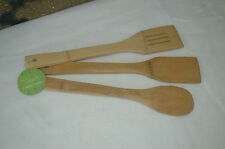 3 bamboo utensils, eco cooking, kitchen wooden spoon spatula