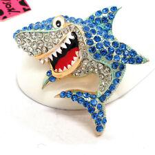 Betsey Johnson Blue Rhinestone Cartoon Shark Crystal Charm Brooch Pin Gifts