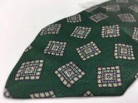 Polo Ralph Lauren Mens Necktie Green 100% Silk Square Geometric Foulard Tie 21W