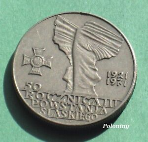 OLD COIN OF POLAND 10 ZLOTY 1971 - ANNIVERSARY OF THE SILESIA UPRISING OF 1921