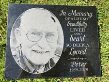 Photo Personalised Engraved Granite Memorial Grave Plaque Headstone - Any Photo